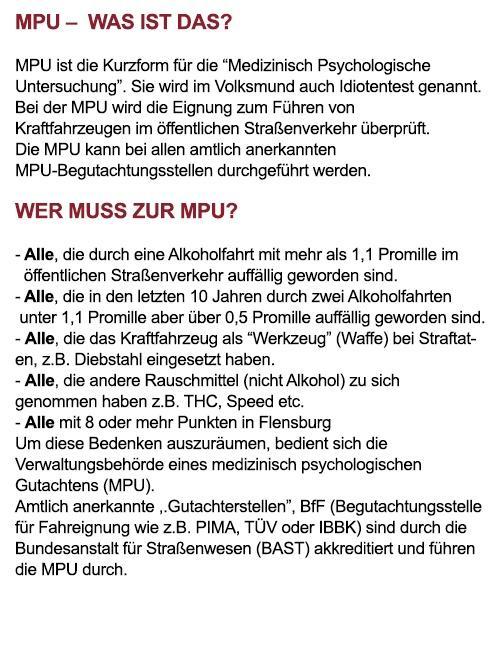 MPU-Beratung aus 73666 Baltmannsweiler, Hochdorf, Wernau (Neckar), Winterbach, Aichwald, Altbach, Deizisau oder Lichtenwald, Plochingen, Reichenbach (Fils)