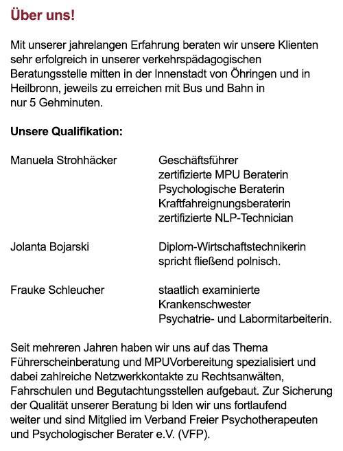 Medizinische Psychologische Untersuchung  aus  Weilheim (Teck)